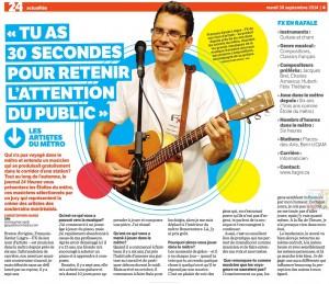 """Article """"FX, musicien de métro"""" dans le journal 24h"""